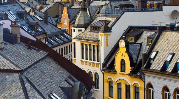 View over rooftops and colourful Art Nouveau architecture in Ålesund
