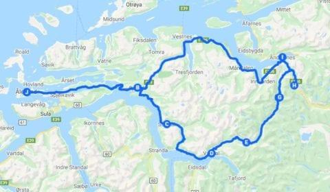 Google mapa del tour Ålesund de los Fiordos a los Trolls