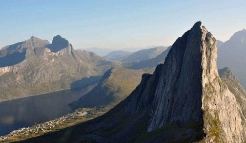 The Romsdalshorn mountain peak on a clear day, Alps of Romsdal, Norway
