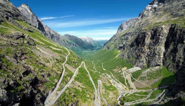 View over the Troll Road with it eleven hairpin bends in a green valley