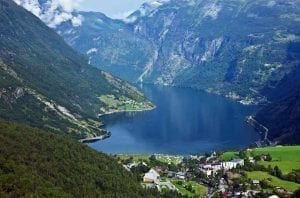 View from Flydalsjuvet over Geiranger, the quiet Geirangerfjord and the Eagle Road