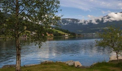 Idyllic view from the shore over a quiet fjord, surrounded by green mountains