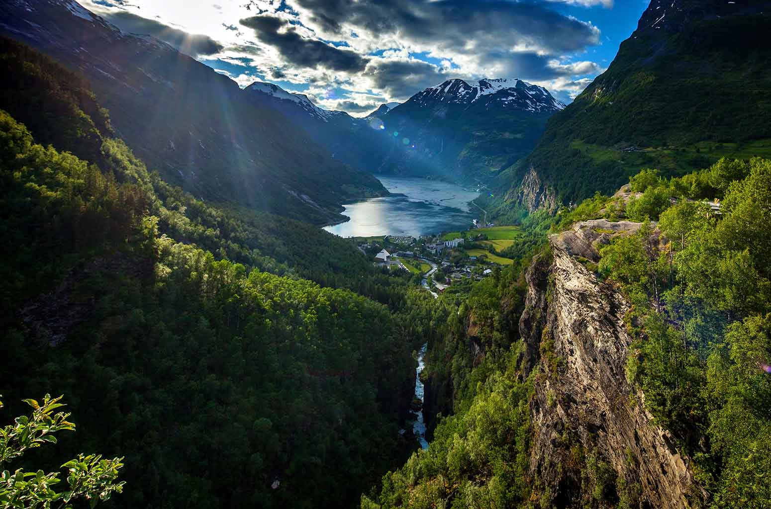 Rays of sun on the Geirangerfjord, seen from Flydalsjuvet