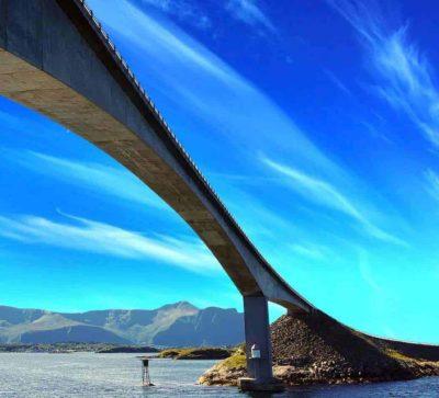 Bro langs Atlanterhavsveien, som leder over vannet, klarblå himmel