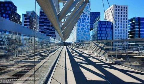 The Acrobat, pedestrian bridge, in the modern Barcode quarter in Oslo