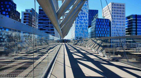 The Acrobat, pedestrian bridge, in the modern Barcode quarter in Oslo