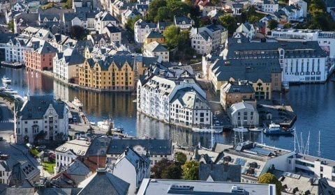 View from Mount Aksla over the center of Ålesund and the Brosund canal, colourful Art Nouveau houses