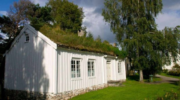 White wooden house with a grass rooftop and a green garden in Molde, Norway