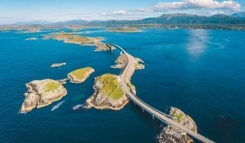 The Atlantic Ocean Road, leading from island to island