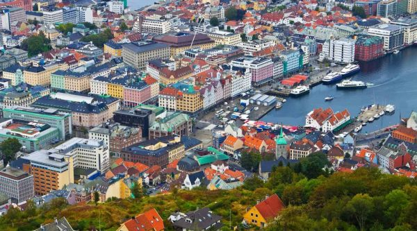 View over from Mount Floien over teh colourful buildings in the center of Bergen, Norway