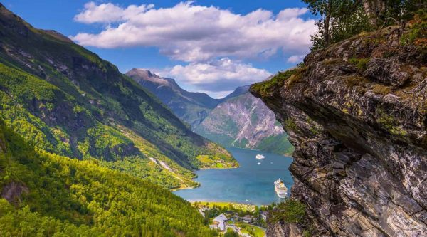 Spectacular view from Flydalsjuvet over UNESCO's Geirangerfjord in Geiranger, Norway