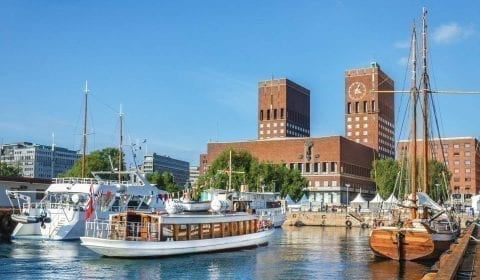 The town hall with its two towers next to the harbour in Oslo, Norway
