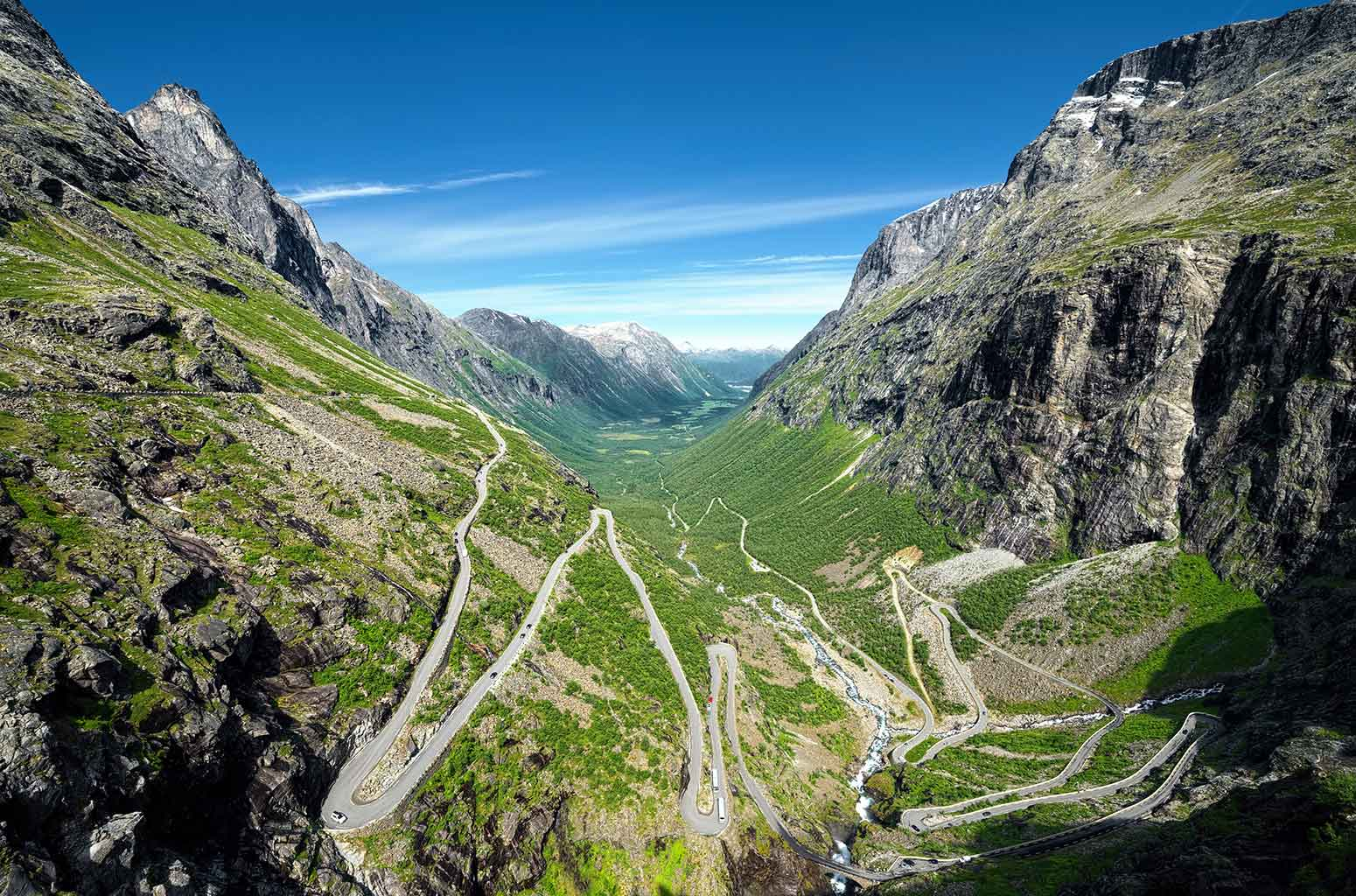 Trollstigen, or Troll Road, and its 11 hairpin bends