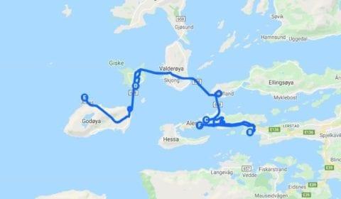 Google mapa del tour Ålesund Privado una Visita Turística Excepcional