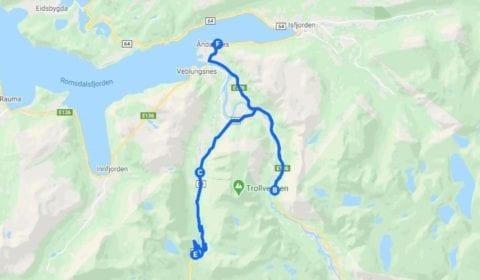 Google plan du tour Åndalsnes Privé la Route des Trolls et le Mur des Trolls