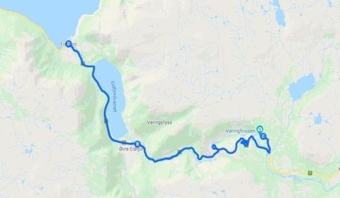 Google mapa del tour Eidfjord Privado una Visita Turística Excepcional