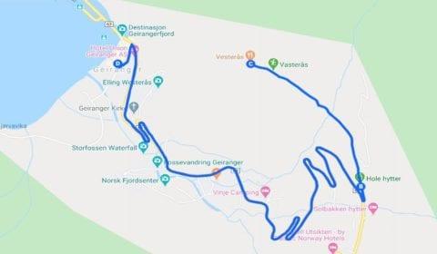 Google cartina del tour Geiranger Privato Trekking alla Affascinante Fattoria di Westerås