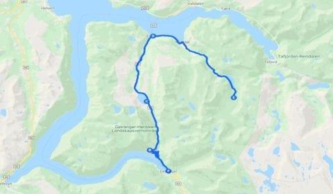 Google mapa del tour Geiranger la tradicional Granja de Herdal