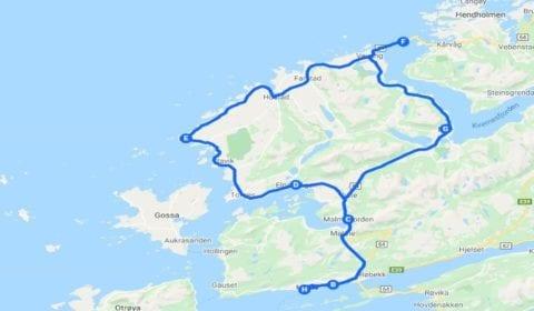 Google mapa del tour Molde la Aventurera Carretera del Atlántico