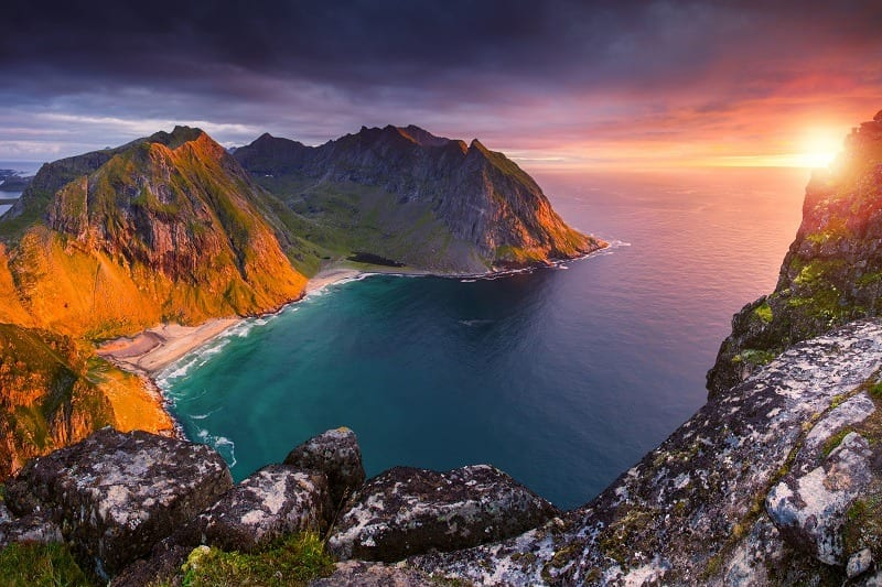 A colorful sunset over the beautiful Lofoten islands in Norway