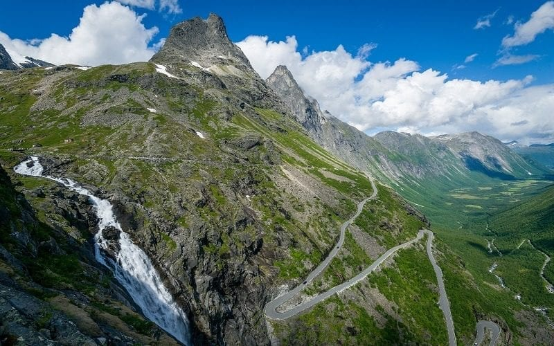 A view over Trollstigen (Troll Road), a mountain road in Norway with 11 hairpin bends