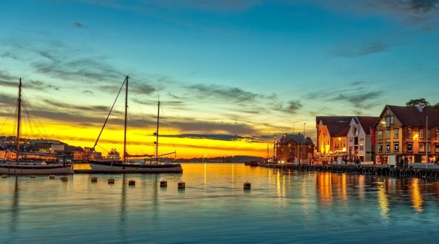 The city of Stavanger, near the harbor at sunset