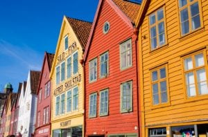 Colorful wooden buildings in the Bryggen area of Bergen