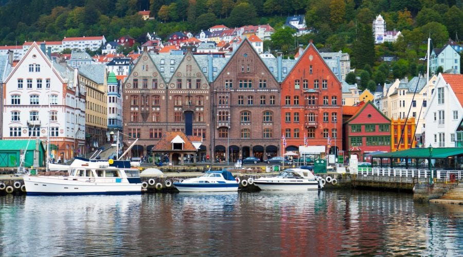 A view of the harbor and colorful buildings in Bergen, Norway