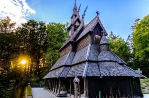 Fantoft Stave Church at sunset in Bergen