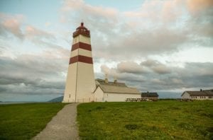A view of the Alnes lighthouse on the island of Godøy in Ålesund, Norway