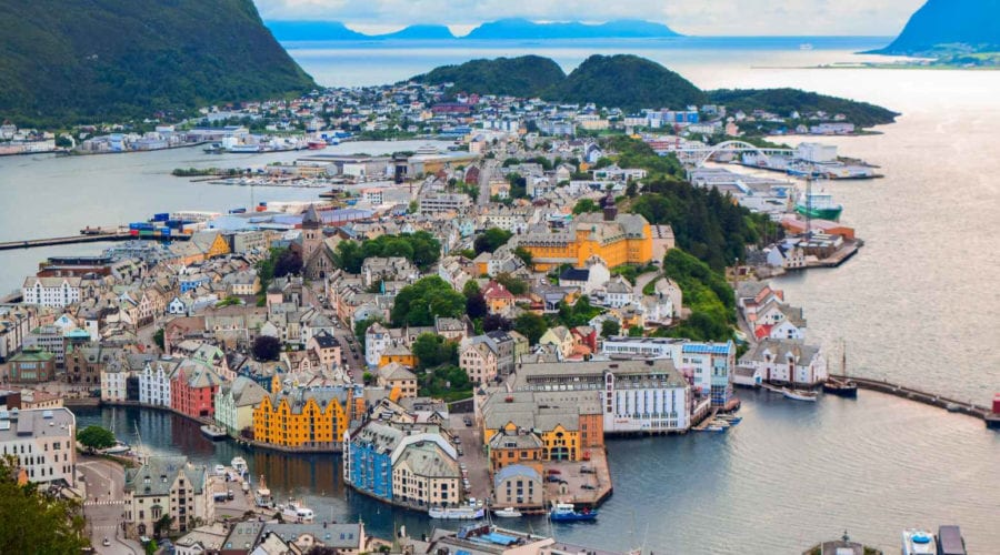 A view over the Art Nouveau city of Ålesund, Norway and its surrounding islands