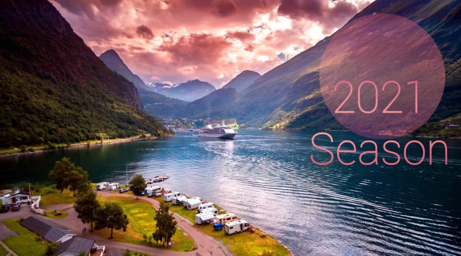A pink sunset over the beautiful Geirangerfjord, Norway