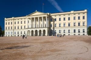 A view of the Royal Palace in Oslo, Norway.