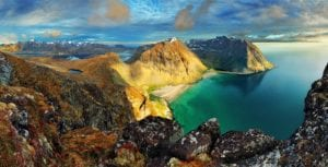 A panoramic view of a mountainous landscape in Lofoten, Norway