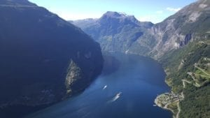 A view over the UNESCO World Heritage Geirangerfjord, Norway.
