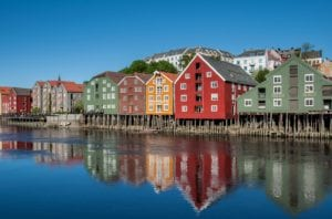 A view of the colorful buildings in the Bakklandet neighborhood in Trondheim