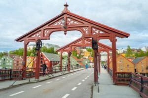 A view of the arches of Gamle Bybroa (Old City Bridge) in Trondheim, Norway.