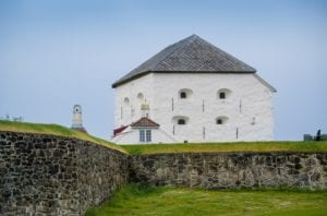 Old Kristiansten Fortress White Tower, historical touristic attraction at Trondheim, Norway