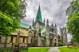 A view of the medieval Niadros Cathedral in Trondheim, Norway.