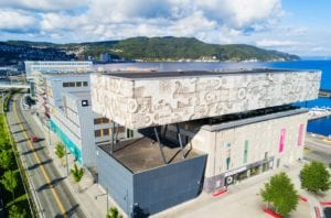 A view of the exterior of the Rockheim Music Museum in Trondheim, Norway.