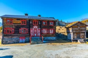 Old architecture at the Sverresborg Trondelag Folk Museum in Trondheim, Norway.