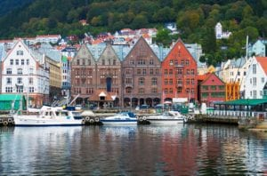 A view from the water of the old wharf of Bryggen in Bergen, Norway