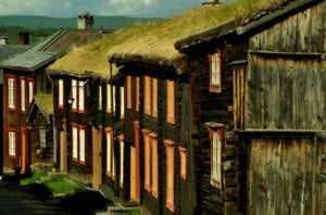 Old wooden buildings in the UNESCO World Heritage site of Røros, Norway.