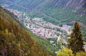 View over Rjukan, Norway from the top of Krossobanen