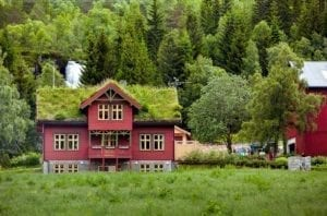 Beautiful wooden house with grass on the roof in Norway in cloudy weather.