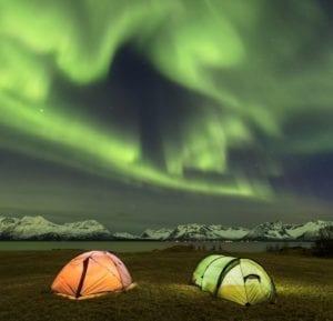 Aurora Borealis (the Northern Lights) in Lofoten, Norway.