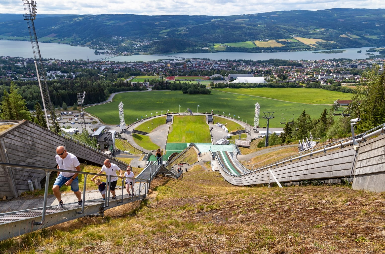 A view looking over Lillehammer from the Lysgardsbakken ski jumping arena in Lillehammer, Norway.
