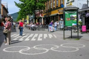 Olympic rings on the street in the city center of Lillehammer, Norway.