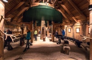 Inside the Viking Longhouse in the Lofotr Viking Museum at the town of Borg in the Lofoten Islands, Norway.