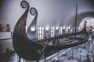 The large Oseberg Viking ship in the Viking Ship Museum in Oslo, Norway.